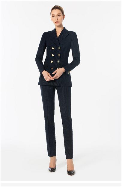 深蓝色条纹双排扣西装搭配小脚九分裤职业装定做